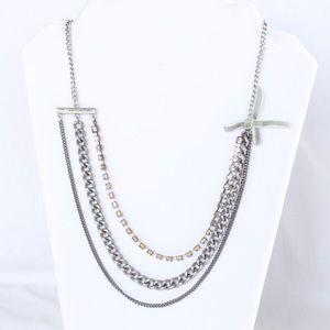 New Aeropostale Multi Strand Necklace Silver